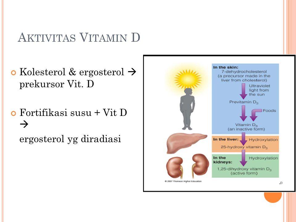 Aktivitas Vitamin D Kolesterol & ergosterol  prekursor Vit. D