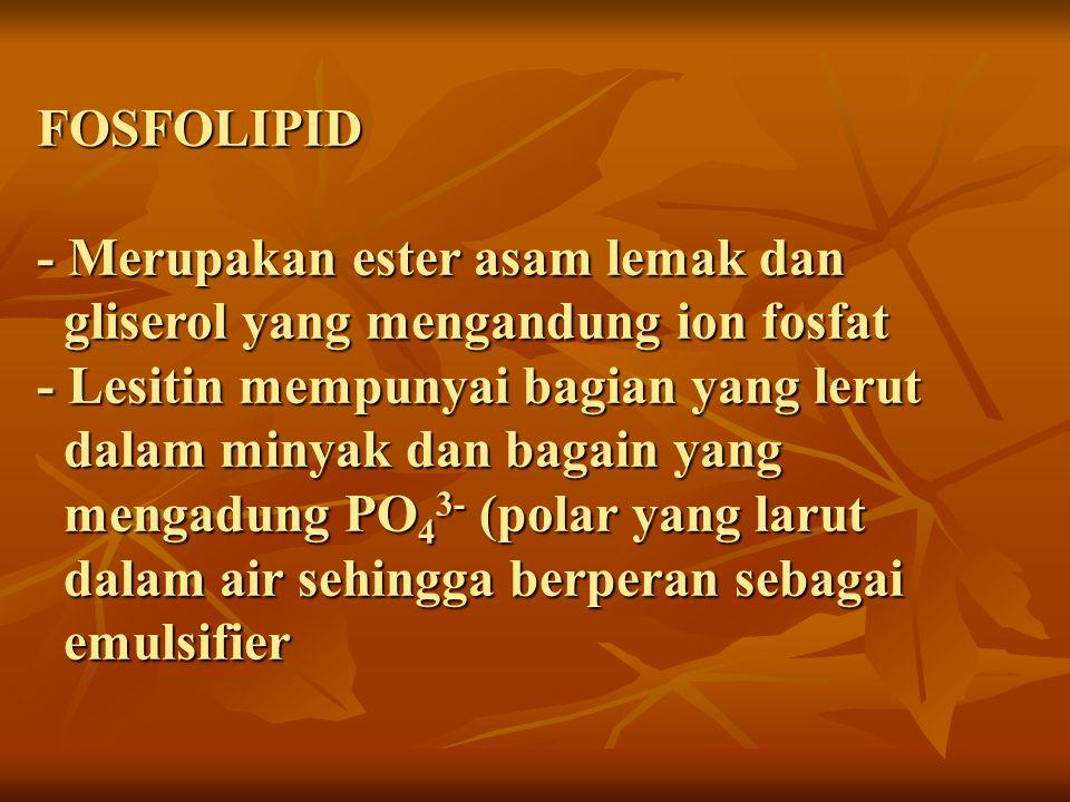 FOSFOLIPID - Merupakan ester asam lemak dan gliserol yang mengandung ion fosfat - Lesitin mempunyai bagian yang lerut dalam minyak dan bagain yang mengadung PO43- (polar yang larut dalam air sehingga berperan sebagai emulsifier