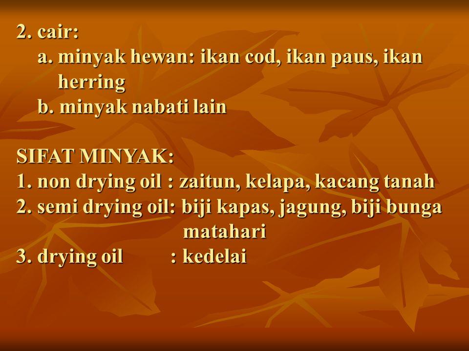 2. cair: a. minyak hewan: ikan cod, ikan paus, ikan herring b