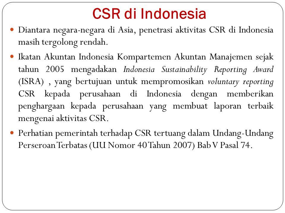 CSR di Indonesia Diantara negara-negara di Asia, penetrasi aktivitas CSR di Indonesia masih tergolong rendah.