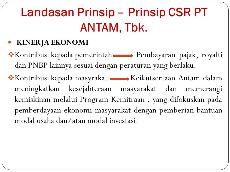 Landasan Prinsip – Prinsip CSR PT ANTAM, Tbk.