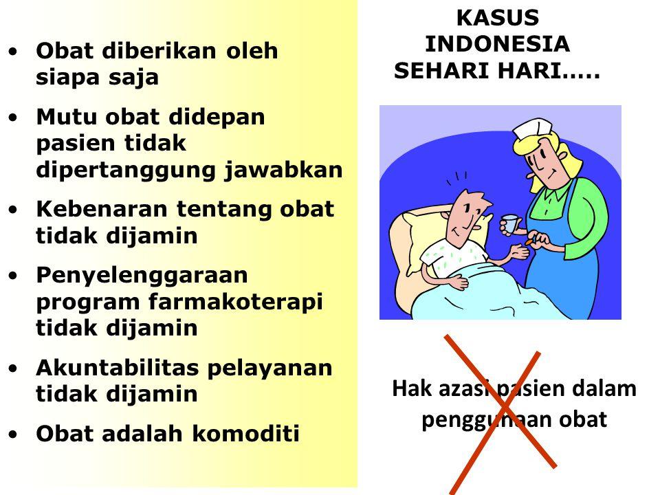 KASUS INDONESIA SEHARI HARI….. Hak azasi pasien dalam penggunaan obat