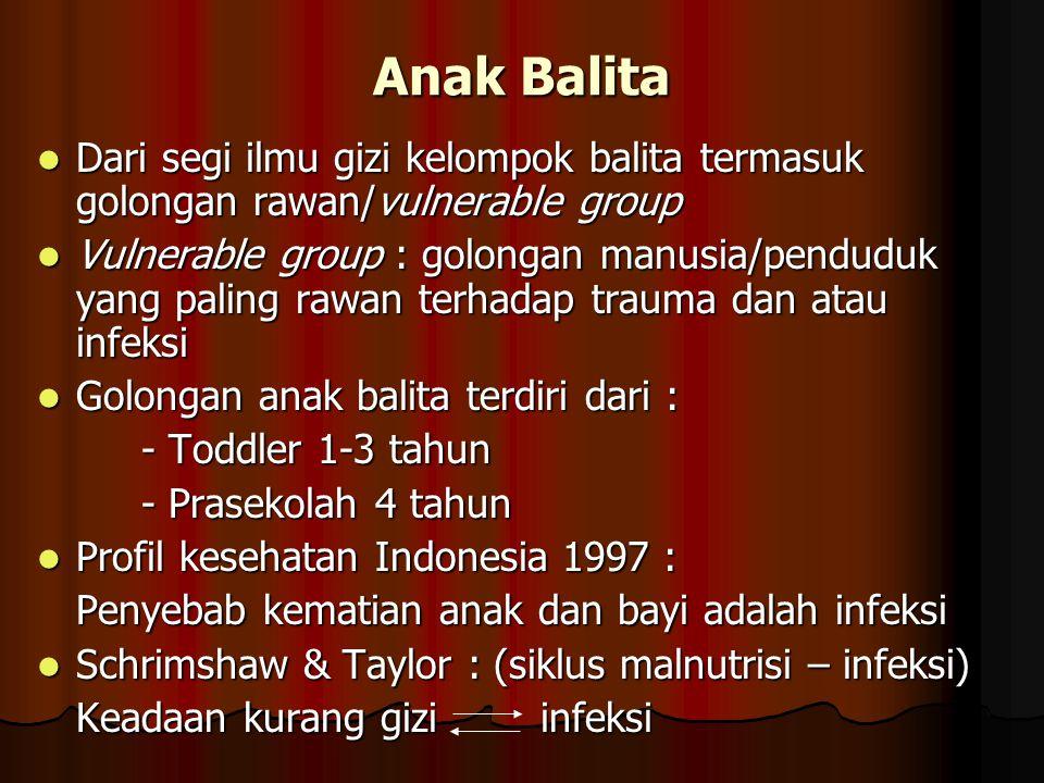 Anak Balita Dari segi ilmu gizi kelompok balita termasuk golongan rawan/vulnerable group.