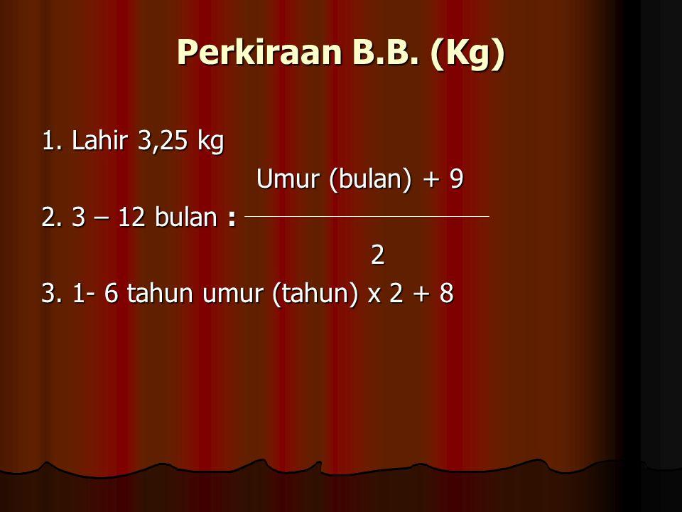 Perkiraan B.B. (Kg) 1. Lahir 3,25 kg Umur (bulan) + 9