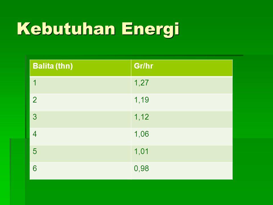 Kebutuhan Energi Balita (thn) Gr/hr 1 1,27 2 1,19 3 1,12 4 1,06 5 1,01