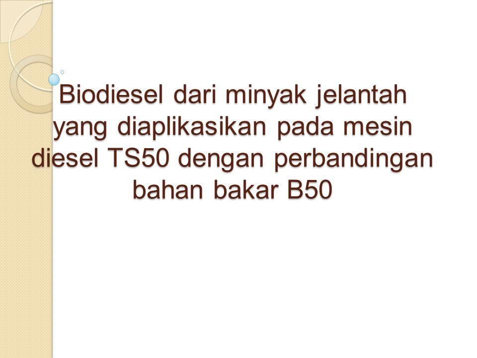 Biodiesel dari minyak jelantah yang diaplikasikan pada mesin diesel TS50 dengan perbandingan bahan bakar B50