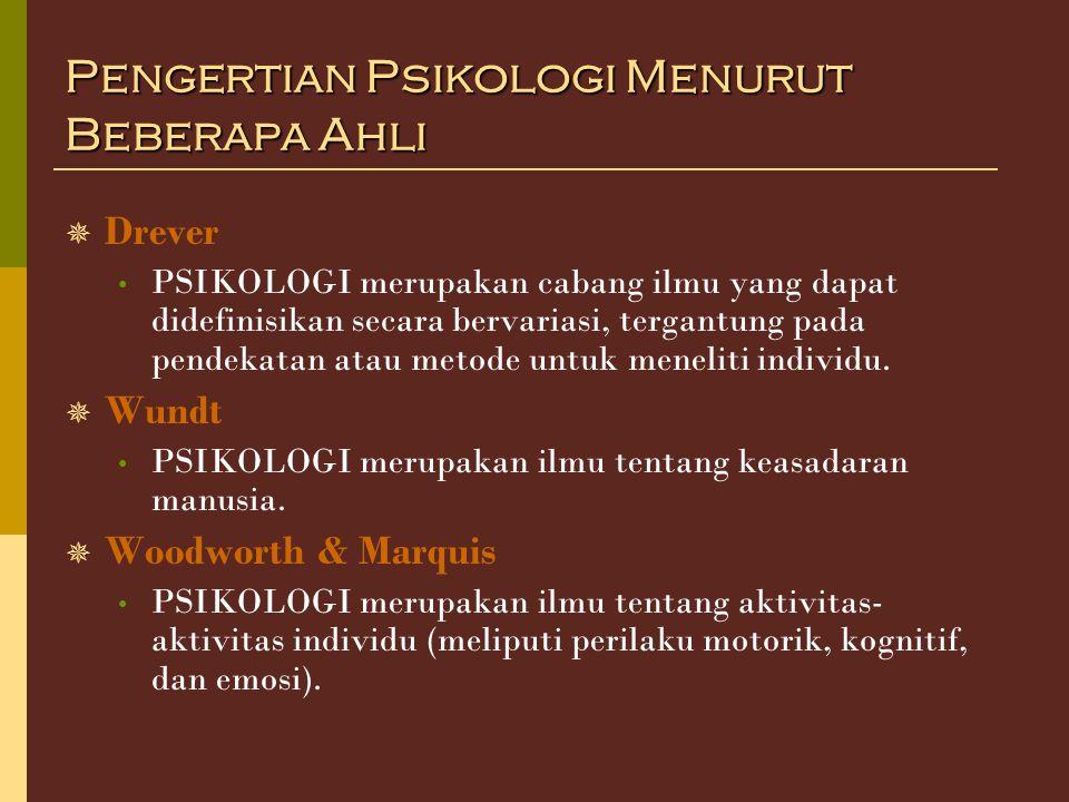 Pengertian Psikologi Menurut Beberapa Ahli