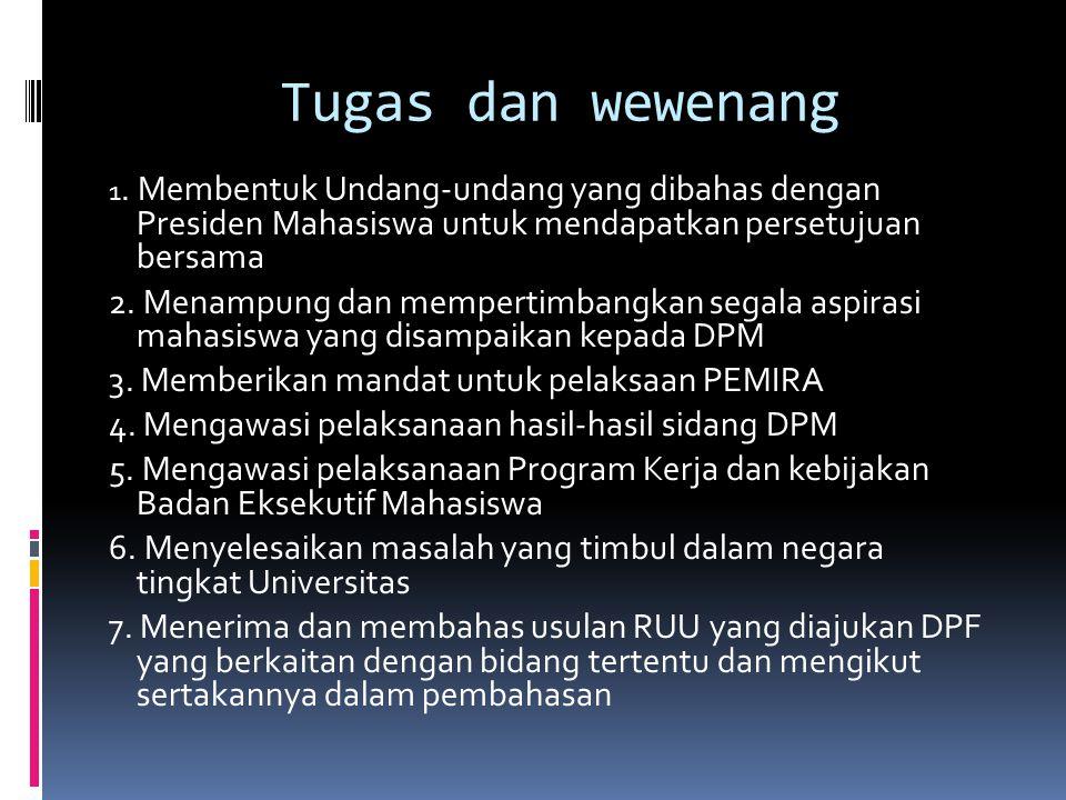 Tugas dan wewenang 1. Membentuk Undang-undang yang dibahas dengan Presiden Mahasiswa untuk mendapatkan persetujuan bersama.