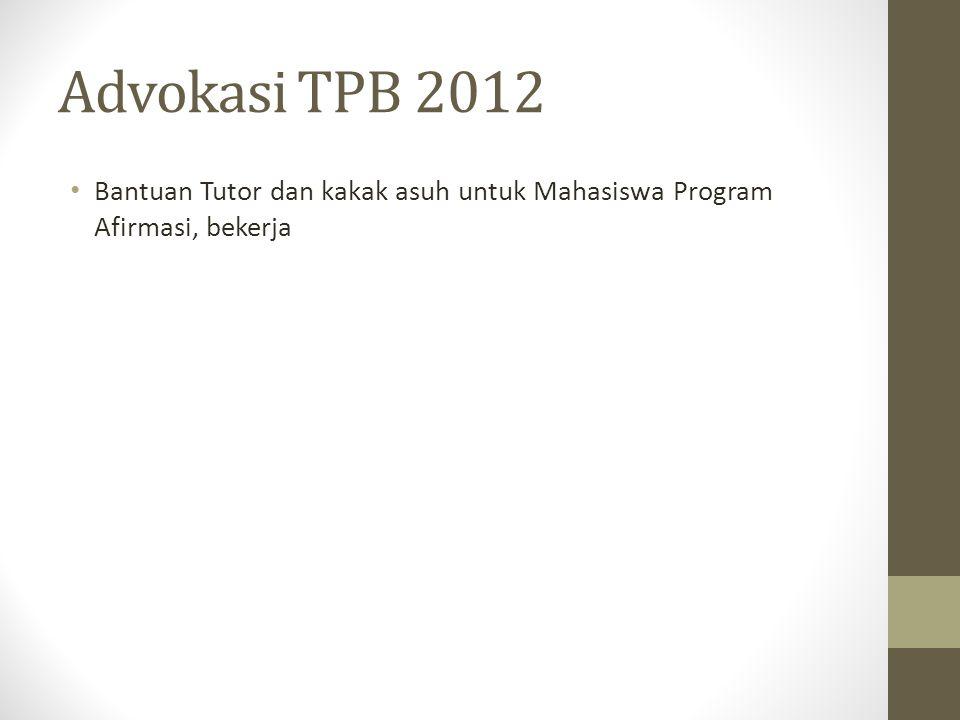Advokasi TPB 2012 Bantuan Tutor dan kakak asuh untuk Mahasiswa Program Afirmasi, bekerja