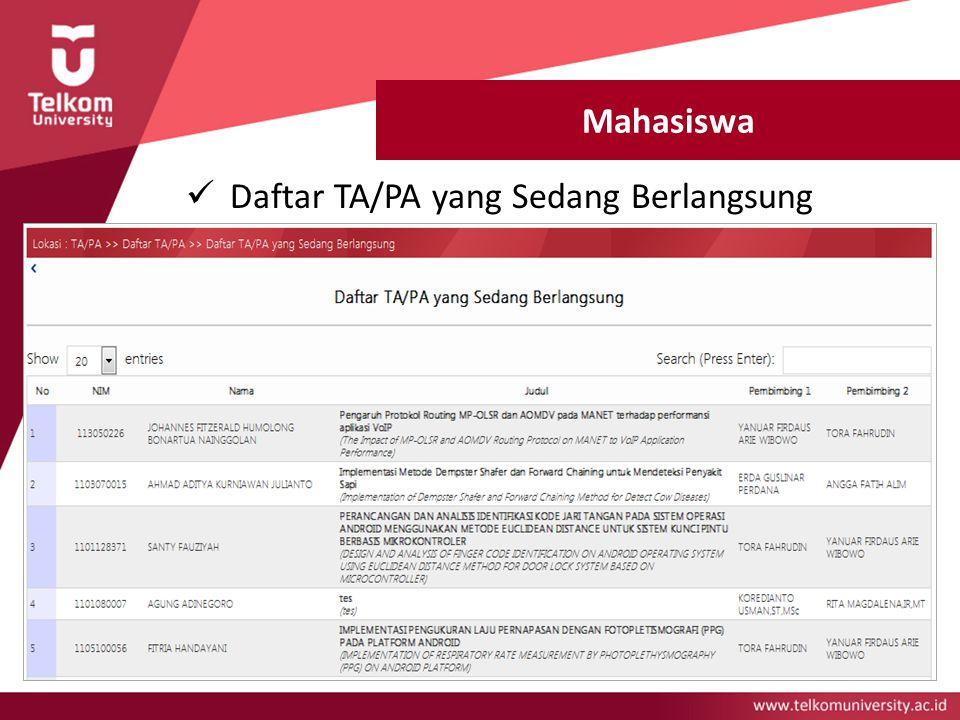 Mahasiswa Daftar TA/PA yang Sedang Berlangsung