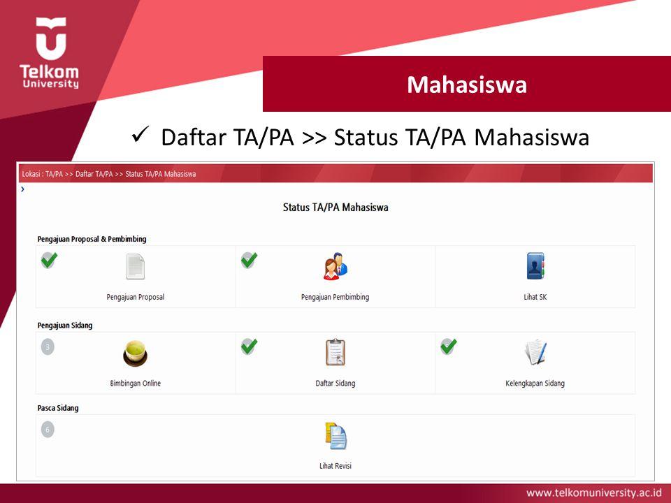 Mahasiswa Daftar TA/PA >> Status TA/PA Mahasiswa