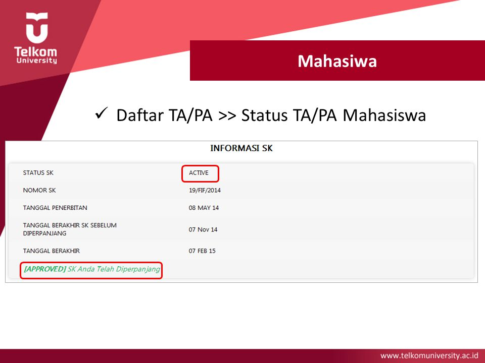 Mahasiwa Daftar TA/PA >> Status TA/PA Mahasiswa