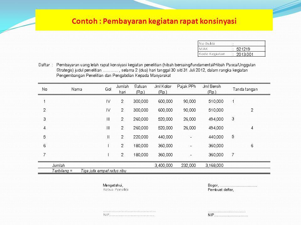 Contoh : Pembayaran kegiatan rapat konsinyasi