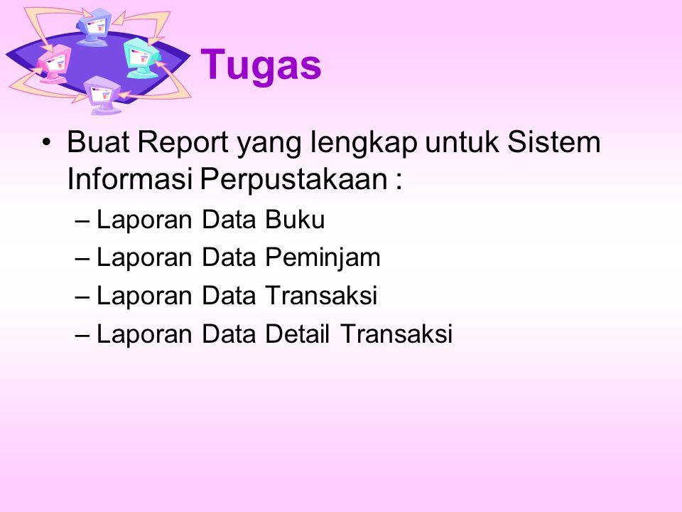 Tugas Buat Report yang lengkap untuk Sistem Informasi Perpustakaan :