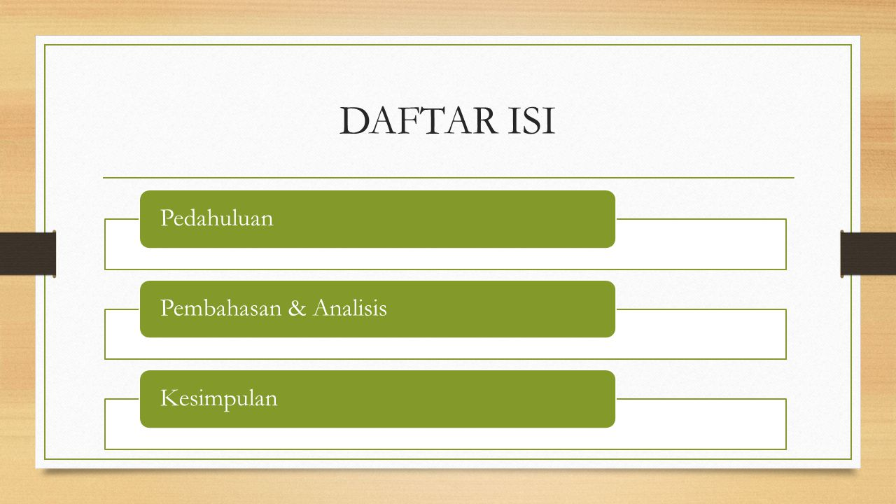 DAFTAR ISI Pedahuluan Pembahasan & Analisis Kesimpulan