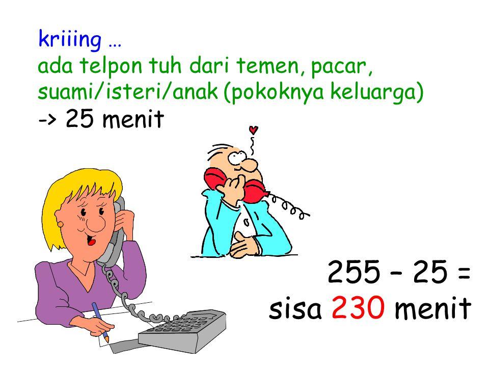 kriiing … ada telpon tuh dari temen, pacar, suami/isteri/anak (pokoknya keluarga) -> 25 menit