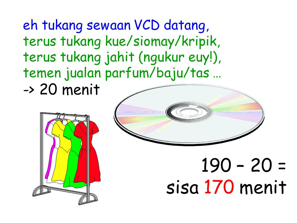 eh tukang sewaan VCD datang, terus tukang kue/siomay/kripik, terus tukang jahit (ngukur euy!), temen jualan parfum/baju/tas … -> 20 menit