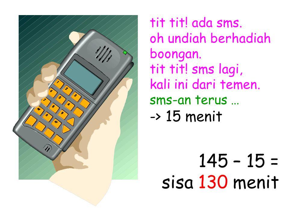 tit tit. ada sms. oh undiah berhadiah boongan. tit tit