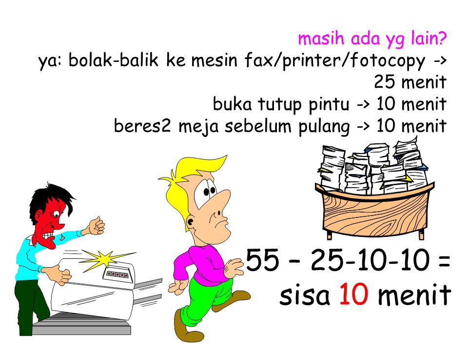 masih ada yg lain ya: bolak-balik ke mesin fax/printer/fotocopy -> 25 menit buka tutup pintu -> 10 menit beres2 meja sebelum pulang -> 10 menit