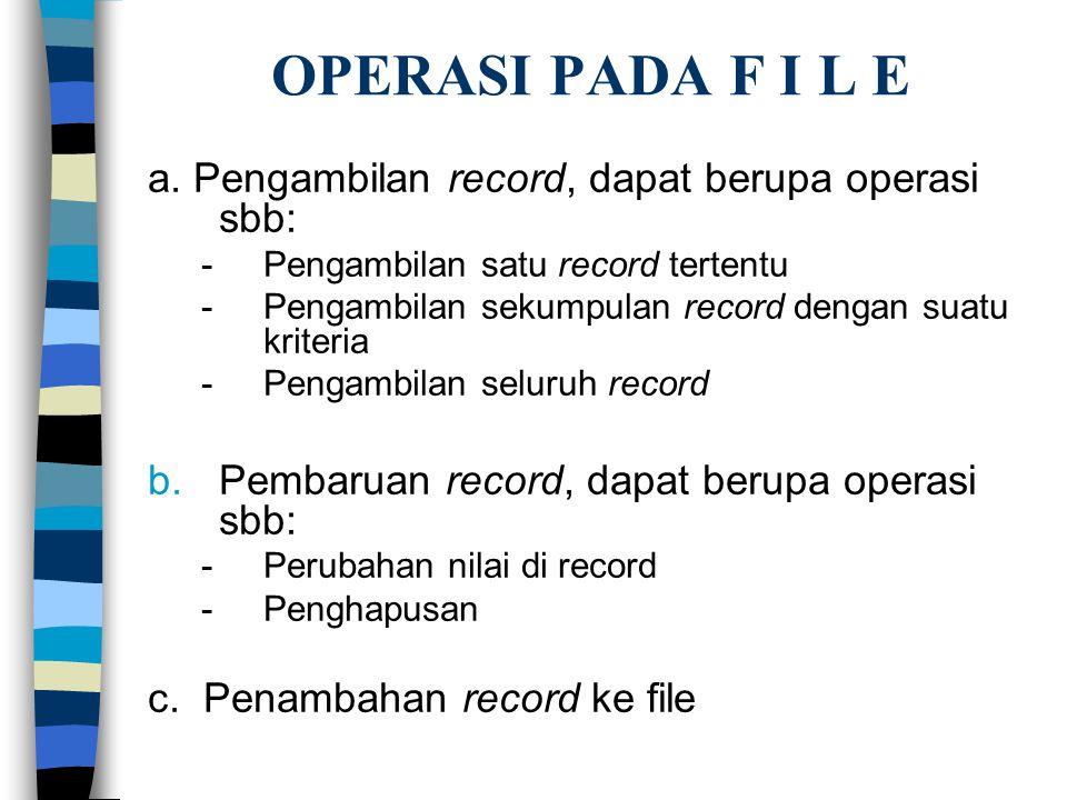 OPERASI PADA F I L E a. Pengambilan record, dapat berupa operasi sbb: