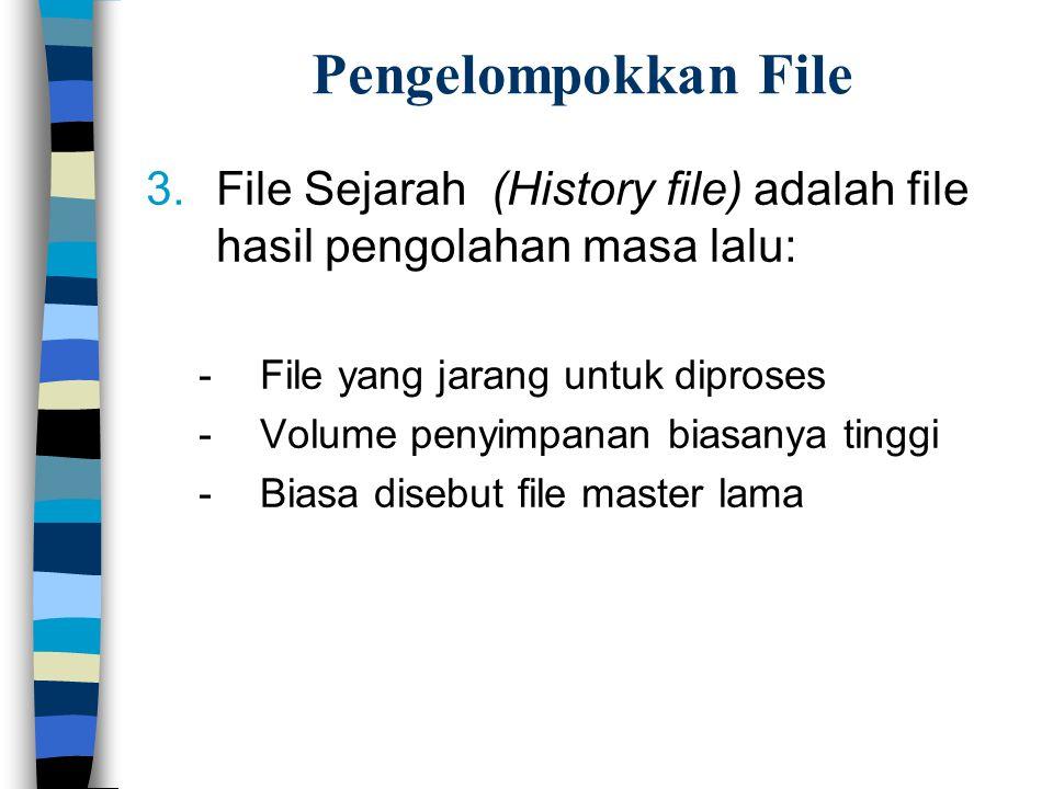 Pengelompokkan File File Sejarah (History file) adalah file hasil pengolahan masa lalu: File yang jarang untuk diproses.