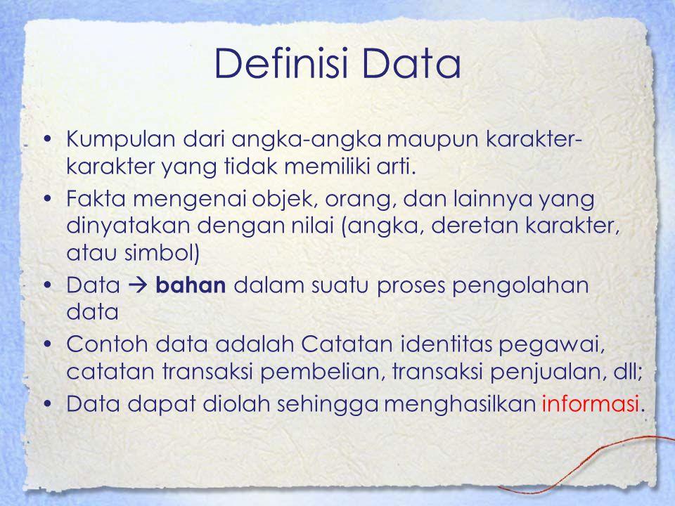 Definisi Data Kumpulan dari angka-angka maupun karakter-karakter yang tidak memiliki arti.