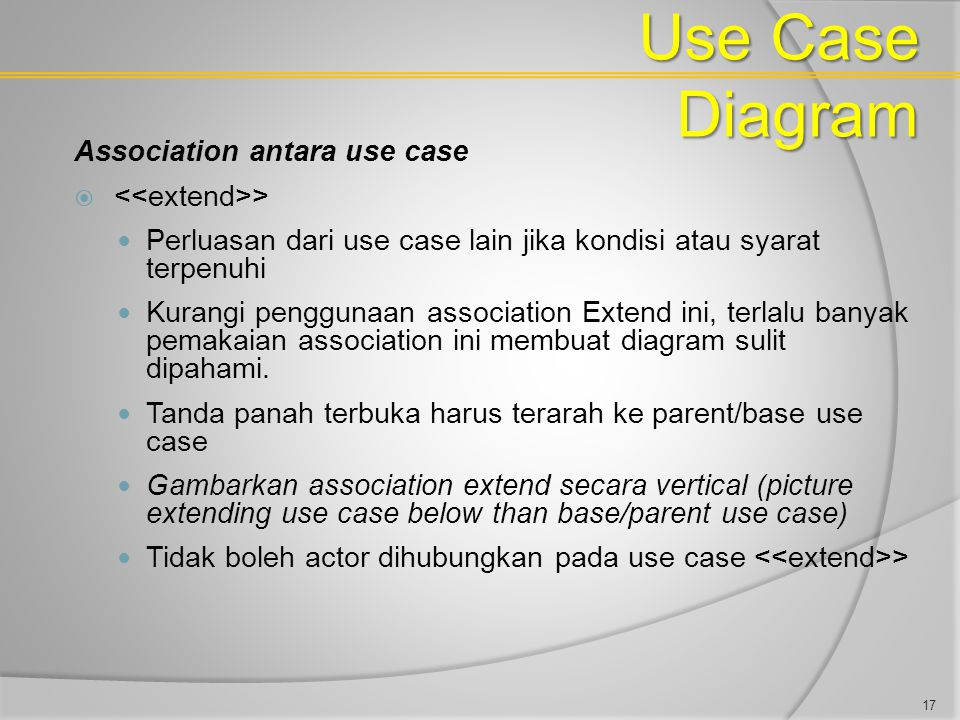 Use Case Diagram Association antara use case <<extend>>