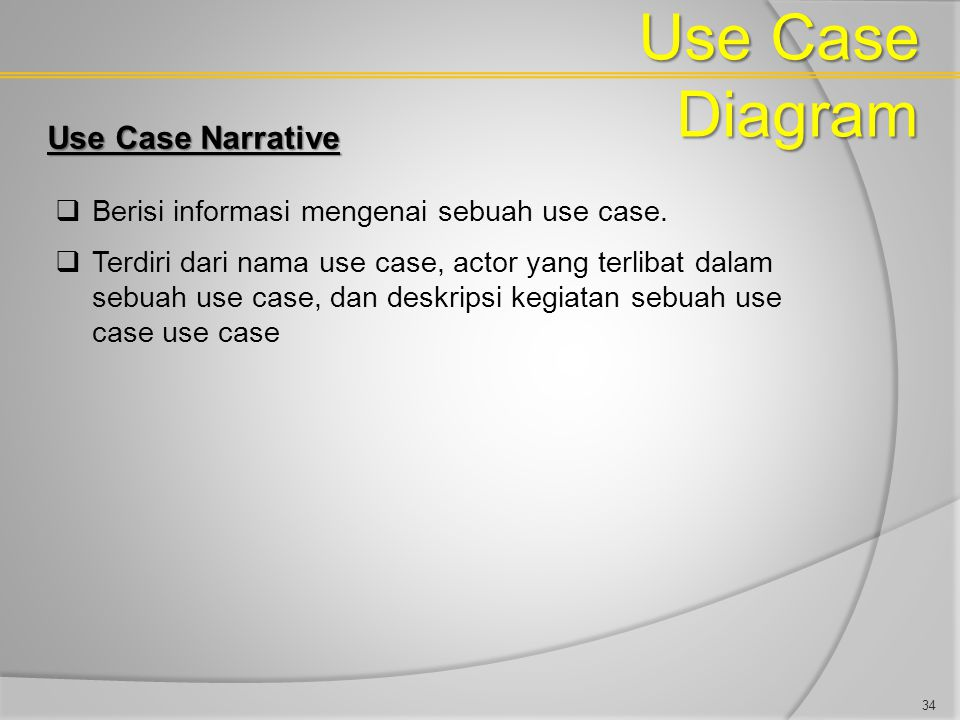 Use Case Diagram Use Case Narrative