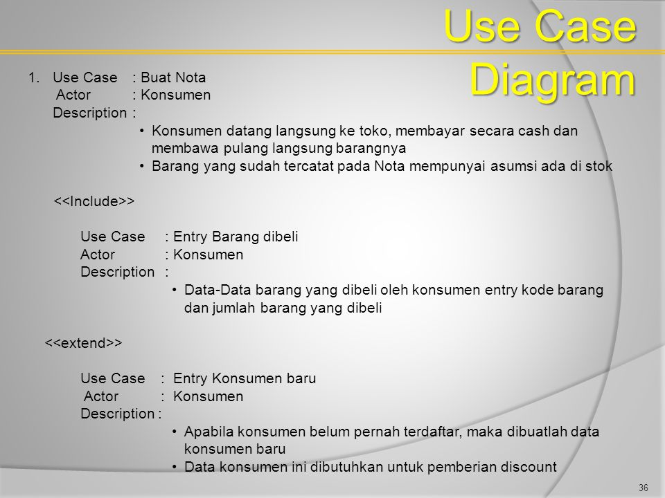 Use Case Diagram Use Case : Buat Nota Actor : Konsumen Description :