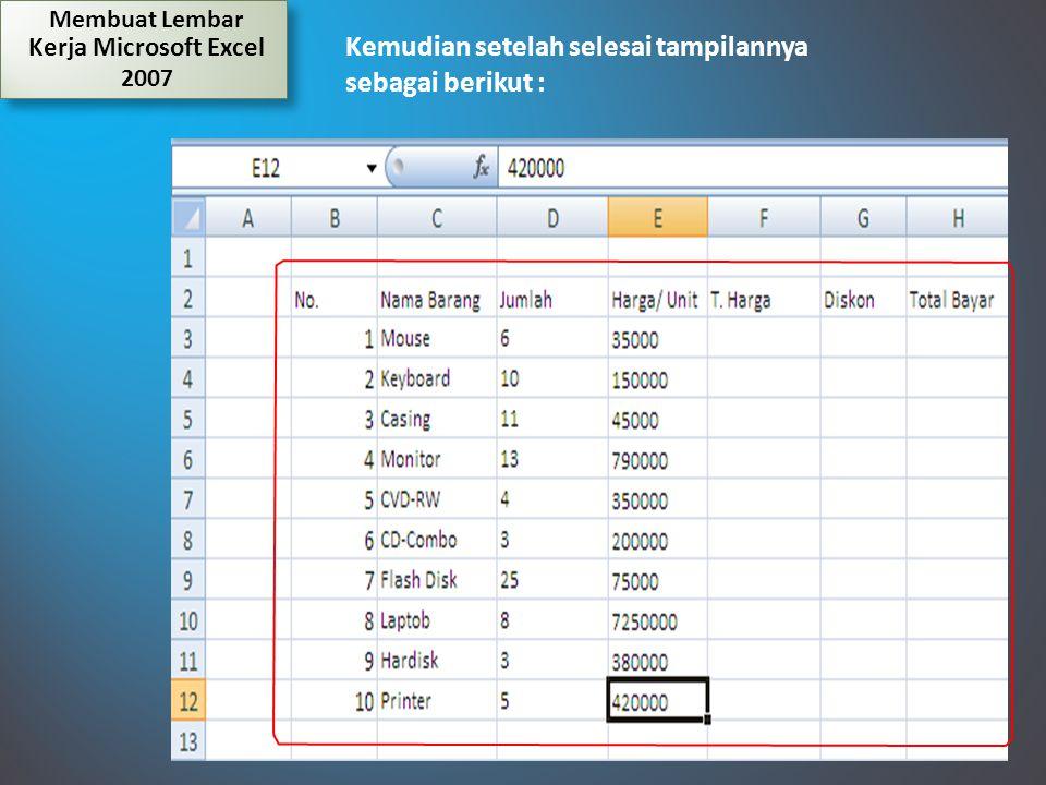 Membuat Lembar Kerja Microsoft Excel 2007 Kemudian setelah selesai tampilannya sebagai berikut :