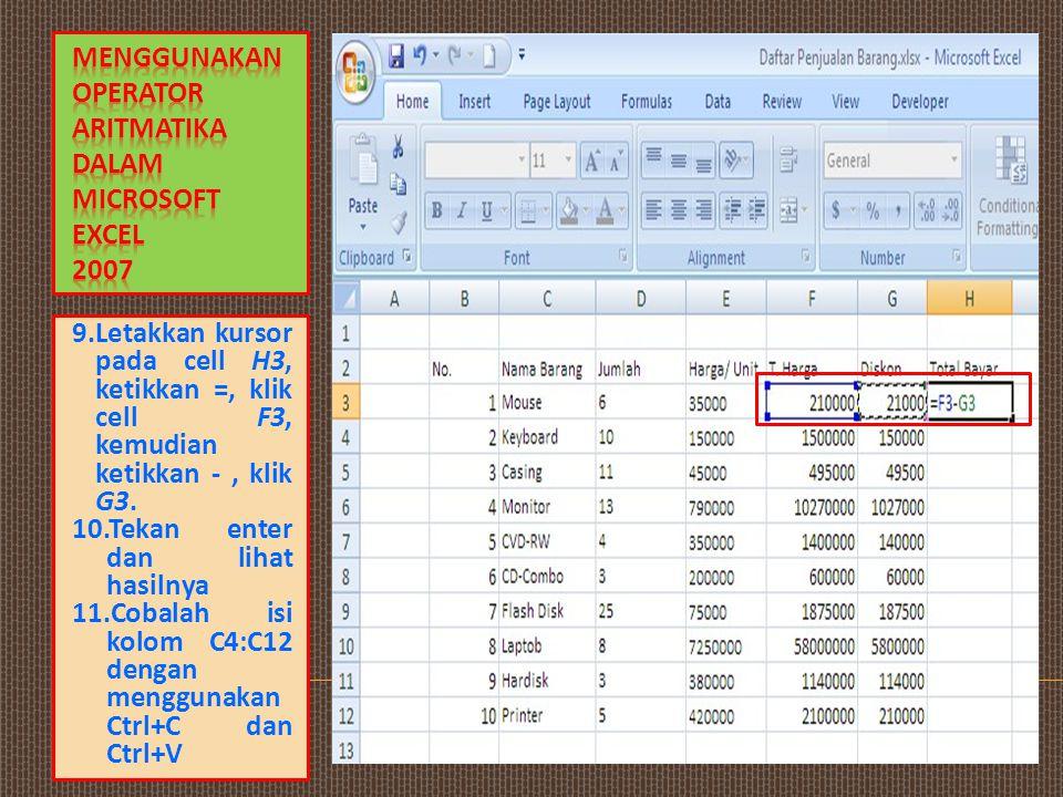 Menggunakan Operator Aritmatika Dalam Microsoft Excel 2007