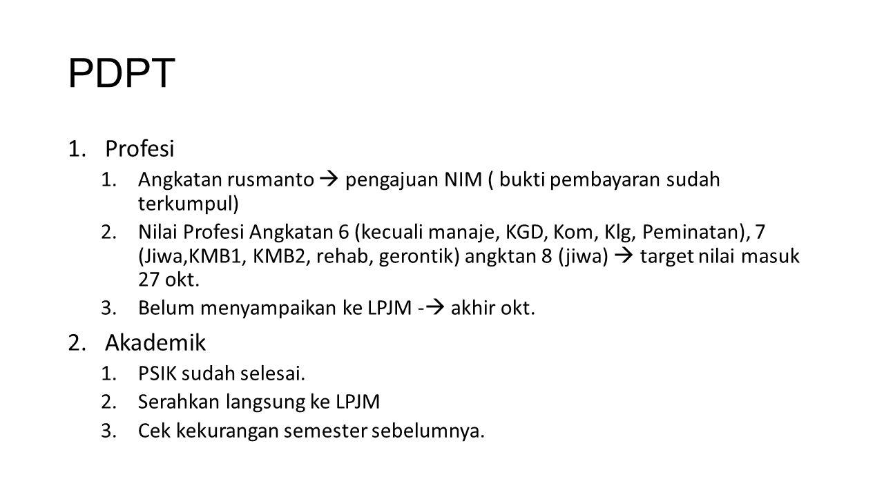 PDPT Profesi. Angkatan rusmanto  pengajuan NIM ( bukti pembayaran sudah terkumpul)