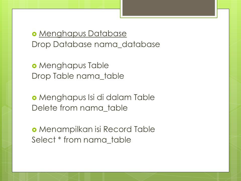 Menghapus Database Drop Database nama_database. Menghapus Table. Drop Table nama_table. Menghapus Isi di dalam Table.