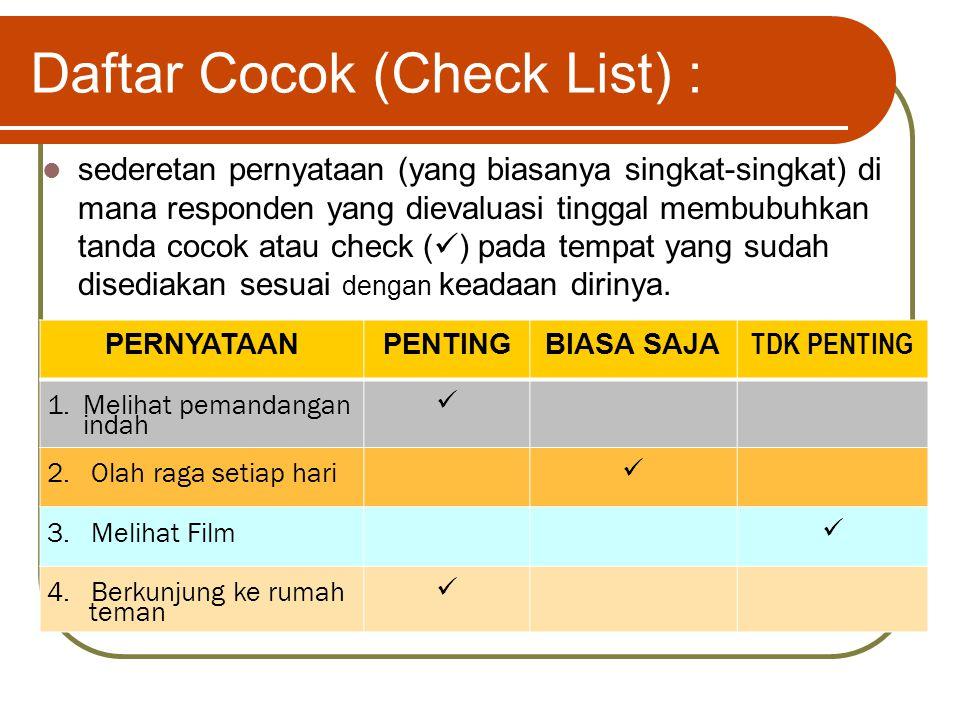 Daftar Cocok (Check List) :