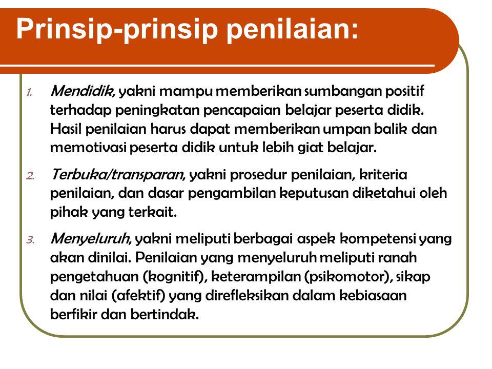 Prinsip-prinsip penilaian:
