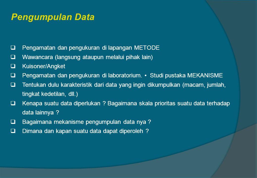 Pengumpulan Data Pengamatan dan pengukuran di lapangan METODE