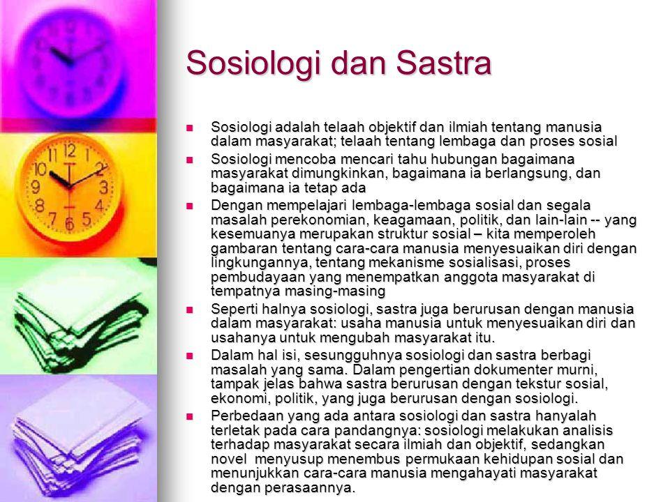 Sosiologi dan Sastra Sosiologi adalah telaah objektif dan ilmiah tentang manusia dalam masyarakat; telaah tentang lembaga dan proses sosial.