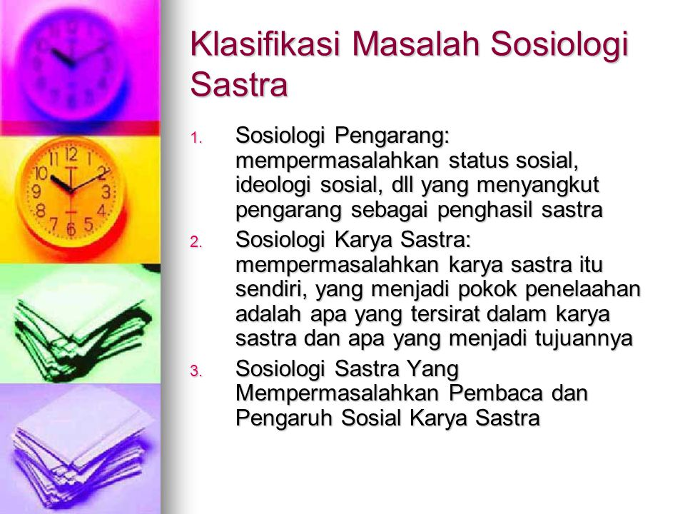 Klasifikasi Masalah Sosiologi Sastra