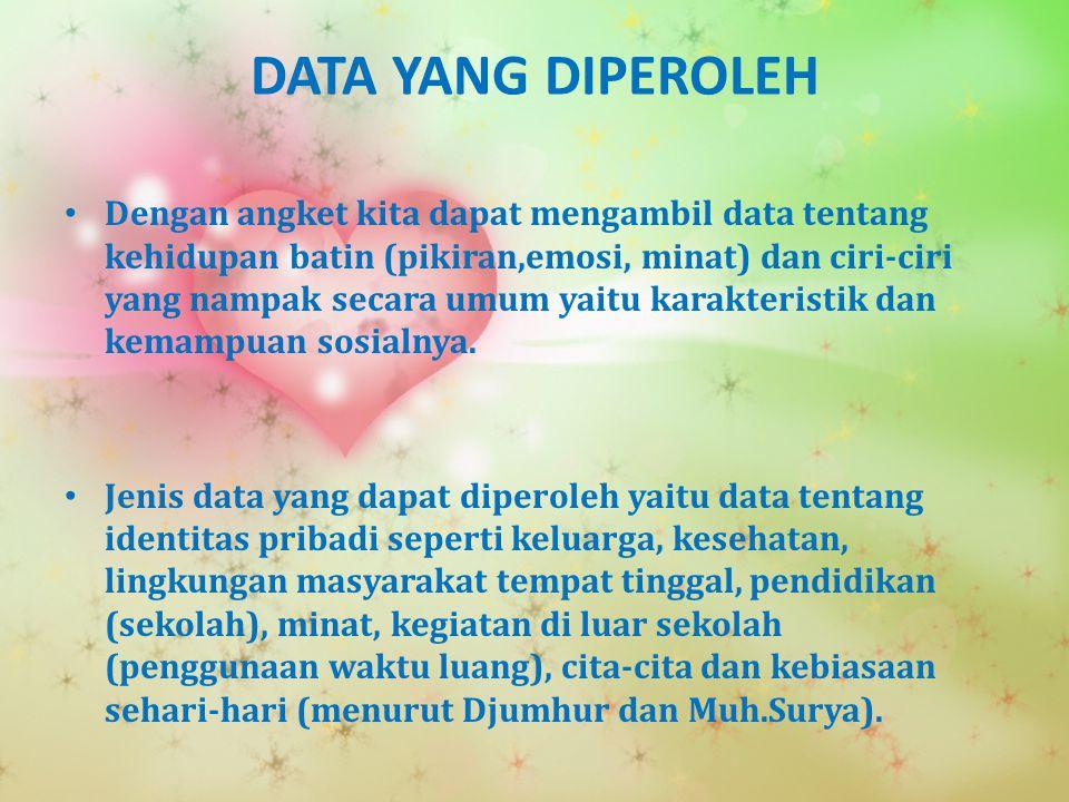 DATA YANG DIPEROLEH