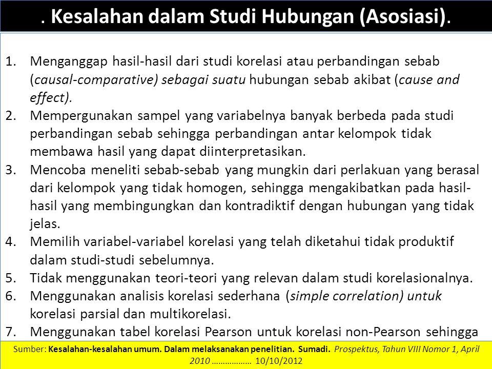 . Kesalahan dalam Studi Hubungan (Asosiasi).