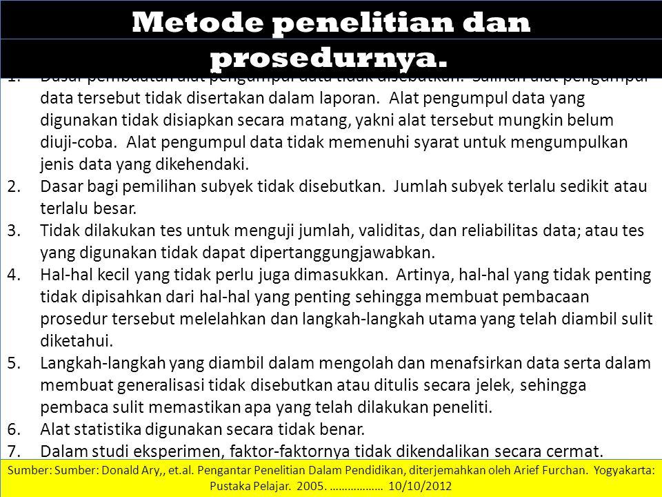 Metode penelitian dan prosedurnya.