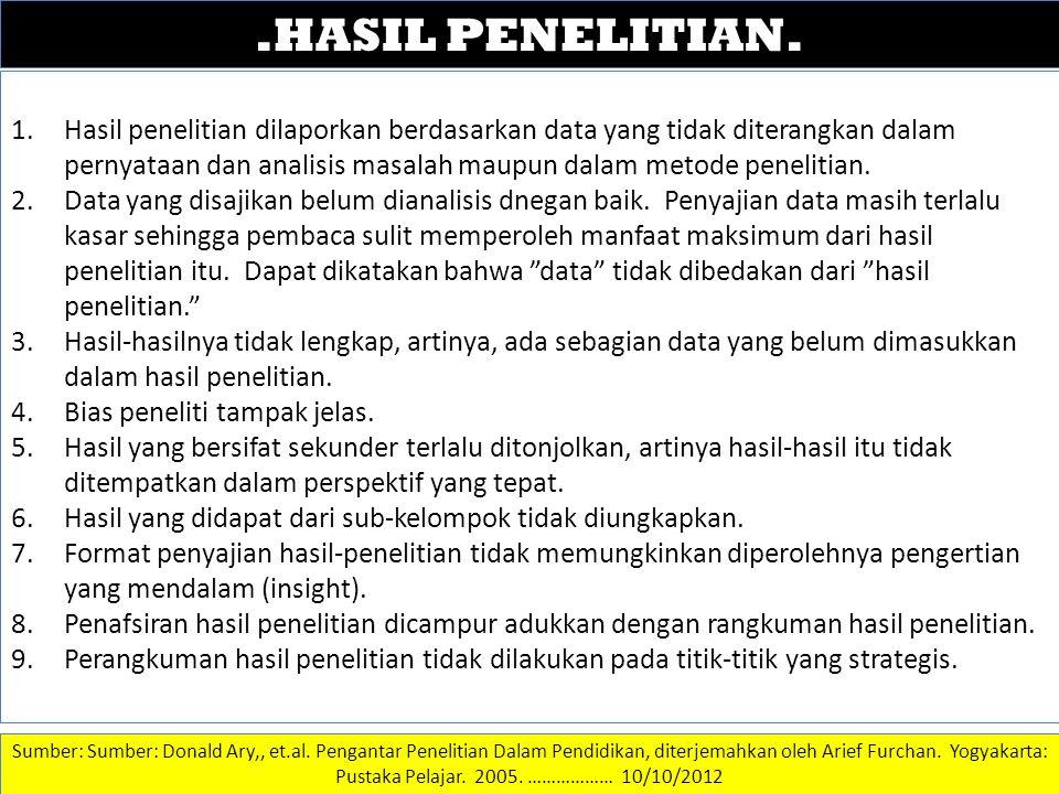 .HASIL PENELITIAN. DATA DAN INFORMASI