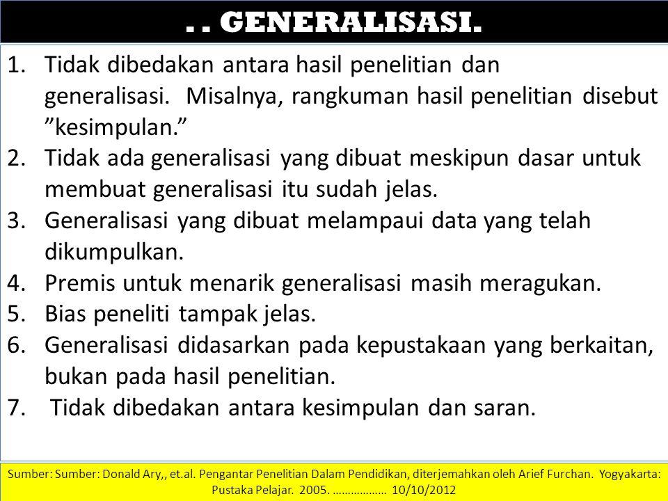 . . GENERALISASI. DATA DAN INFORMASI.