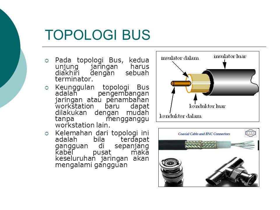 TOPOLOGI BUS Pada topologi Bus, kedua unjung jaringan harus diakhiri dengan sebuah terminator.