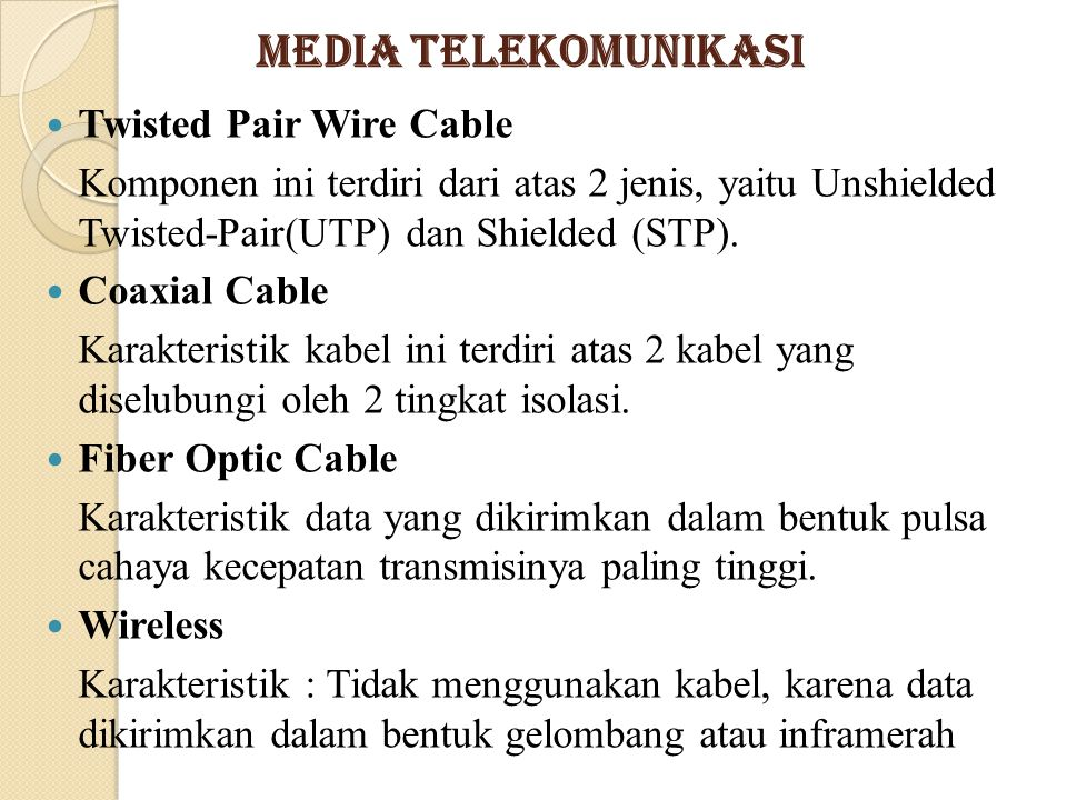 Media Telekomunikasi Twisted Pair Wire Cable