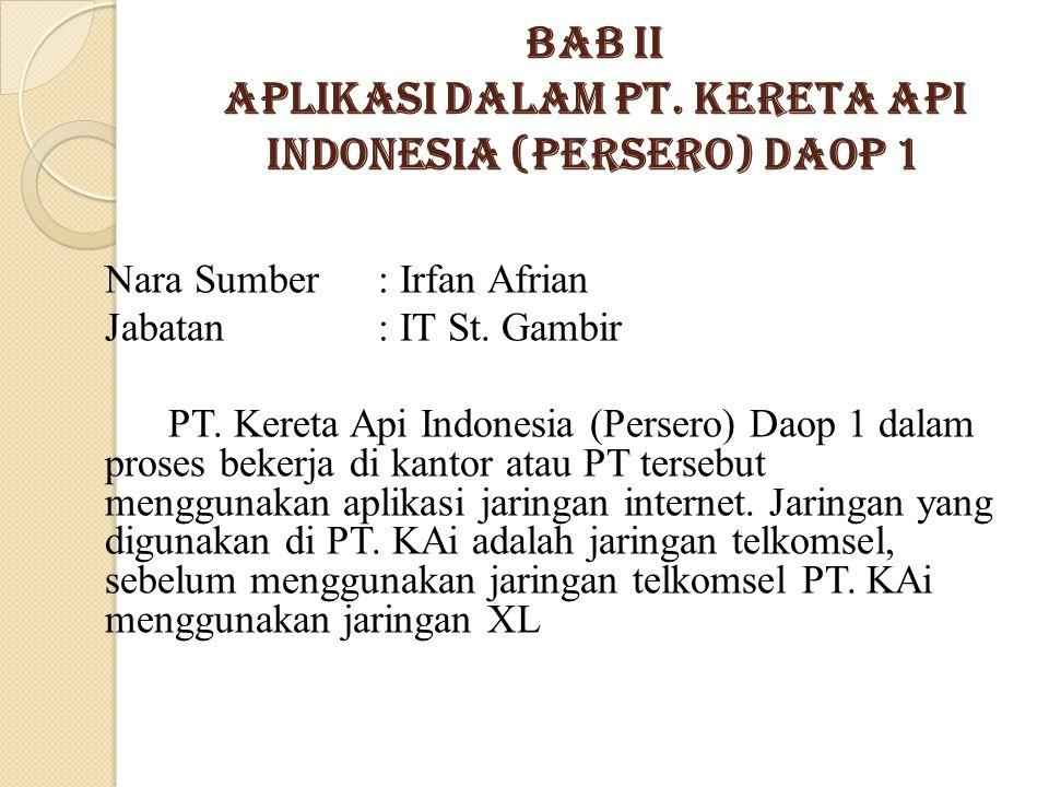 Bab II Aplikasi dalam PT. KERETA API INDONESIA (Persero) DAOP 1