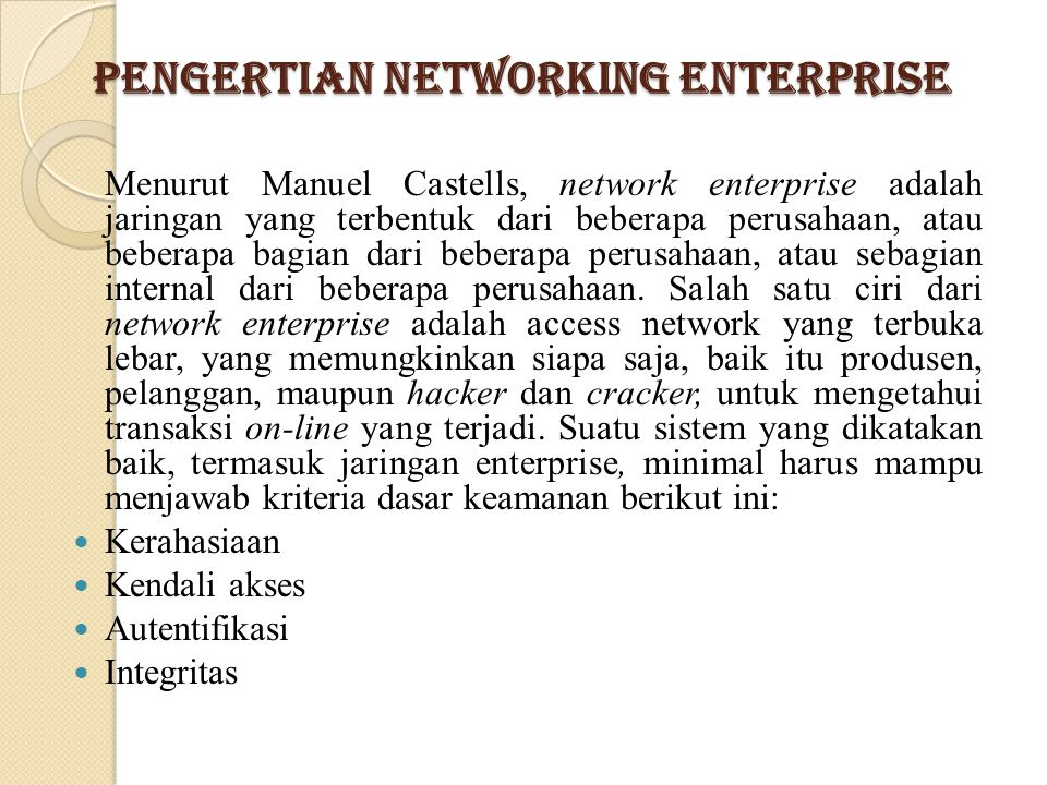 Pengertian Networking Enterprise