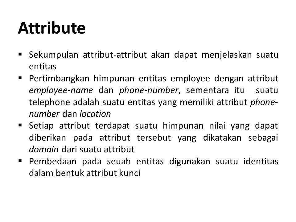 Attribute Sekumpulan attribut-attribut akan dapat menjelaskan suatu entitas.