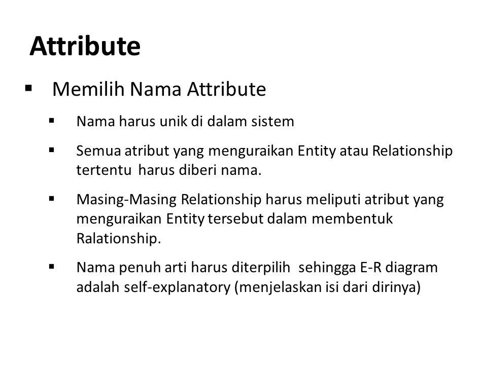 Attribute Memilih Nama Attribute Nama harus unik di dalam sistem