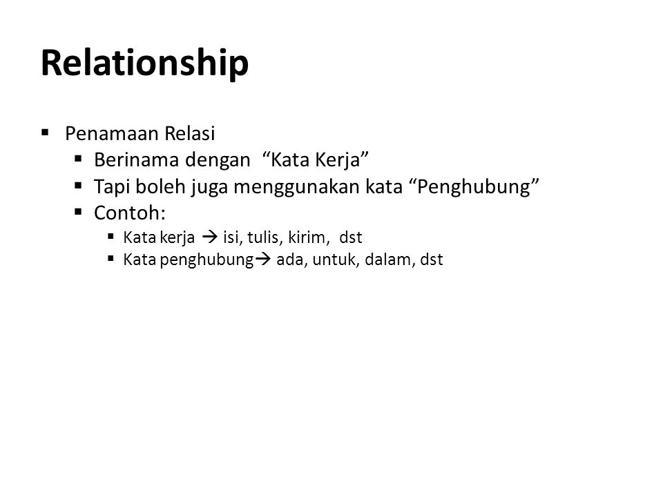 Relationship Penamaan Relasi Berinama dengan Kata Kerja